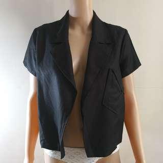 C249 - Urbane Cloth Black Short Sleeves Soft Jacket