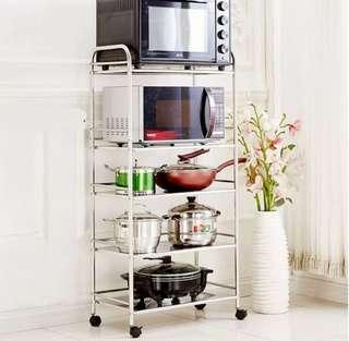 Stainless Steel Microwave Rack Oven Shelf Kitchen Trolley