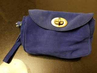 🚚 Mango blue suede bag