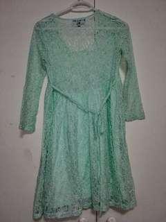 Mint Green Lace Mini Dress
