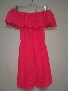 Perfect for vacations! Hot pink off the shoulder swimsuit coverup dress