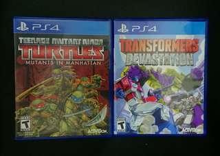 ((中古)) 行版 - PS4 Teenage Mutant Ninja Turtles Mutants in Manhattan 忍者龜 + Transformers Devastation 變形金鋼 **共兩隻遊戲,不散賣** (ACTIVISION 白金工作室 PLATNUMGAMES LTD PlayStation 4)
