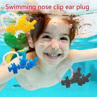 [Kibot]Swimming Soft Silicone Ear Plug+Anti-Choke Nose Clip Turbinate Clamp Set/Early Learner Young Beginner Swimmer Training Lesson Swimming Assist Earplug NoseClip Kit With Storage Case