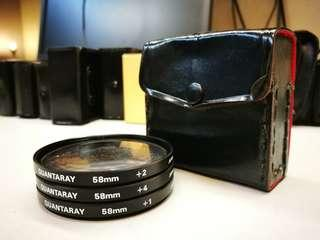 Quantary Close-up lens 58mm set +1,+2,and +4 (made in Japan )