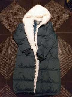 Dark green hooded long coat