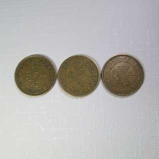 1948, 49. 50年份英皇喬治六世香港壹毫硬幣各一個,共3個 (包郵)