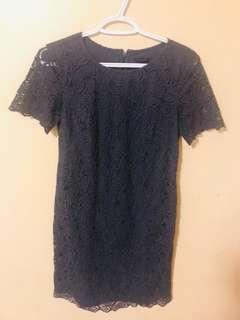 Dress lace anne taylor size 0 navy blue