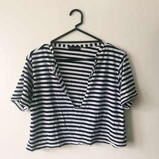 PLT Striped Crop Tee