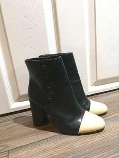Zara black and white booties