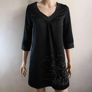 C260 - Tsumori Chisato Black V-Neck Dress