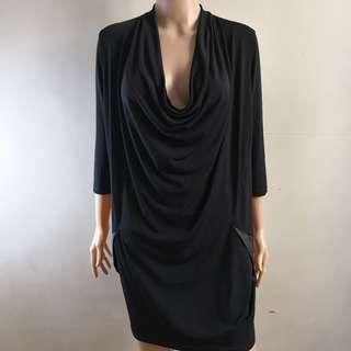 C261 - NB Stretchable Black Dress with Draping Neckline