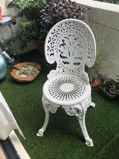 Metal white chairs perfect for the balcony