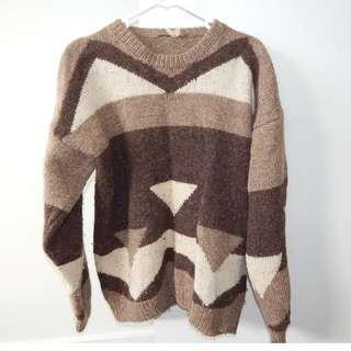 Unisex Vintage Woolen Knit Brown Pattern Size Small (Womens 8)