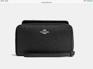Brand New Coach Phone Wallet in Cross Grain Leather