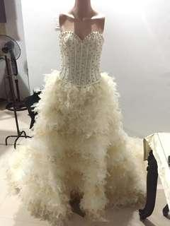 Wedding Gown with Gold Accent