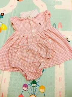 🚚 《3M》POLO 粉紅格經典baby洋裝。附同款小褲#十一月女裝半價