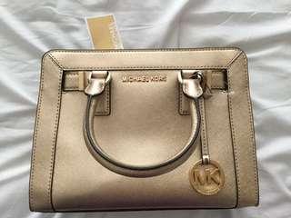 Big Sale!! Brand New Gold Michael Kors Handbag In Grain Leather