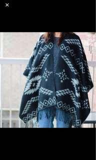 Black/grey reversible garage poncho scarf