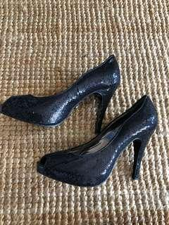 Armani Exchange black sequin high heels, size Aus 8.5