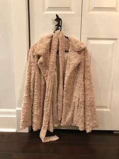Cream fuzzy furry teddy bear jacket coat