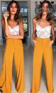 Yellow Waist Wide Leg
