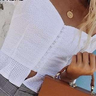 Elegant Ruffle Buttons White Blouse