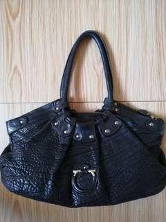 SALVATORE FERRAGAMO Black Pebbled Calf Leather Celtico Tote Bag