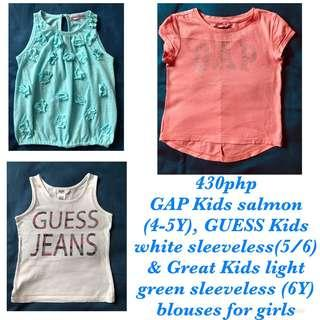 (TAKE ALL) 3PC Blouse by GAP Kids, GUESS Kids and Great Kids for girls