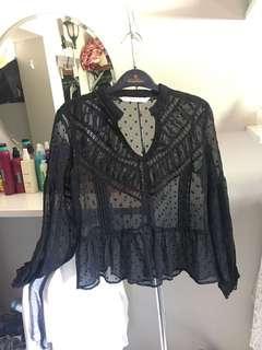 Zara lace polka dot blouse