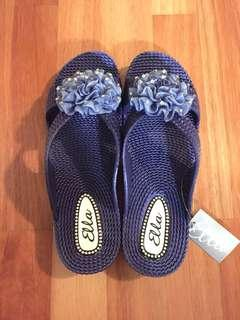 Blue Sandals with Flower Detail