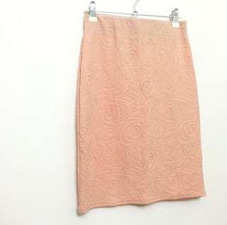 Peach embossed work skirt