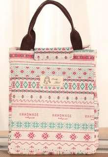 🚚 花紋棉麻加厚保冷保溫手提袋