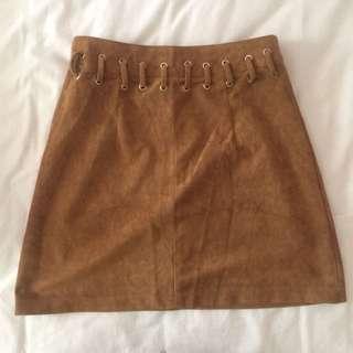 Indikah Brown Suede Skirt