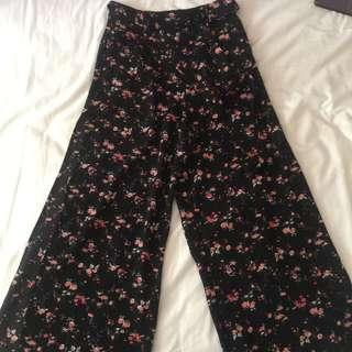 Brand New Temt Floral Wide Pants with Slit
