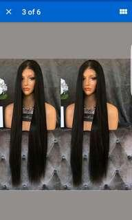 Lace front synthetic wig, jet black, 42inch