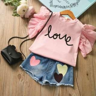 🚚 🍀Girl Butterfly Sleeves Top+Denim Shorts 2pcs Set🍀