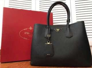 Authentic Prada Saffiano Double Cuir Bag in Nero