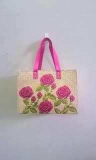 Tas Anyaman Decoupage Pink Rose Handmade