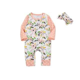 🚚 🌟INSTOCK🌟 2pc Peach Vintage Flowers Polka Sleeves PJ Romper Jumpsuit with Matching Ribbon Headband Set for Newborn Baby Toddler Girls Kids Children Clothes