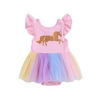 🚚 🌟INSTOCK🌟 Ruffled Pink Shoulder Gold Unicorn Romper with Pastel Rainbow Layer Flare Dress for Birthday Baby Toddler Girls Birthday Outfit Kids Children Clothes