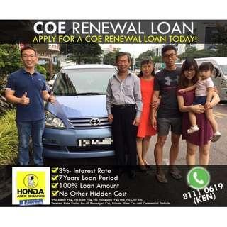 COE Renewal 100% Loan (No Admin, Bank, Processing Fee or Any Hidden Cost)