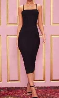 Black Midi Dress - PrettyLittleThing