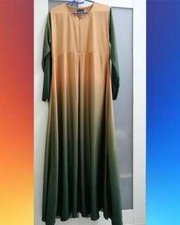 Green ombre Jubah Dress