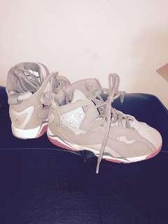 Gray and pink Jordans