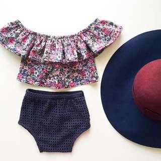🚚 🌟INSTOCK🌟 2pc Purple Floral Stretchy Collar Off-Shoulder Top with Navy Tight Shorts Set for Baby Toddler Girls Kids Children Clothes