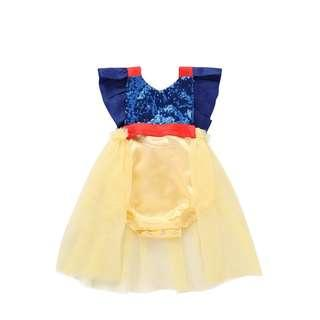 🚚 🌟INSTOCK🌟 Yellow Frock Romper Dress Snow White Princess Theme Photoshoot Birthday Outfit for Newborn Baby Toddler Girls Kids Children Clothes