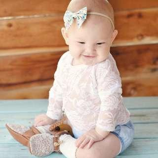 🚚 🌟INSTOCK🌟 Korean Thin See-through White Lace Sleeves Overall Onesie Layering Romper for Newborn Baby Toddler Girls Kids Children Clothes