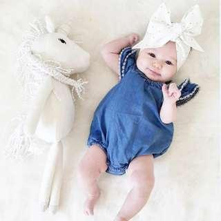 🚚 🌟INSTOCK🌟 White Pom Vintage Blue Jeans Ruffle Sleeves Overall Romper for Newborn Baby Toddler Girls Kids Children Clothes
