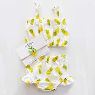 🚚 🌟INSTOCK🌟 2pc Pineapple Strap Top with Ruffle Bloomer Shorts Set for Newborn Baby Toddler Girls Kids Children Clothes