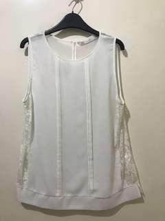 Zara White Lace Chiffon Top